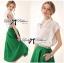 ( พร้อมส่งเสื้อผ้าเกาหลี) เซ็ตเสื้อชีฟอง-กระโปรงบานสีเขียวสุดขิค ตัวนี้ดูหรูหรามากๆ เสื้อชีฟองเรียบหรู classic มาพร้อม กระโปรงสีเขียว forest green ทรงบานดูสดใส สวยใส่สบาย ช่วงเอวคาดแถบสีขาว thumbnail 3