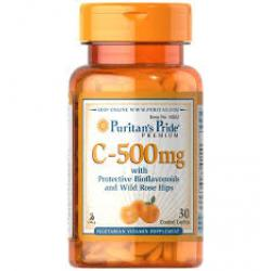 Puritan's Pride Vitamin C-500 mg with Protective Bioflavonoids and Wild Rose Hips / 30 Coated Caplets