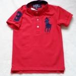 Polo : เสื้อยืด คอติดกระดุม ปักม้าโปโล สีแดง size : 4-6y / 8-10y / 10-12y