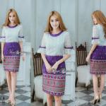 🌟พร้อมส่ง M , L 🌟ชุดเดรสลูกไม้ + ผ้าไทย