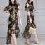 พร้อมส่ง ชุด Dress ยาวสีพื้นดำลายดอก thumbnail 5
