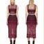 พร้อมส่ง เสื้อผ้าเกาหลี Luxury Red Wine Lace Set thumbnail 1