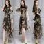 พร้อมส่ง ชุด Dress ยาวสีพื้นดำลายดอก thumbnail 3