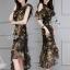 พร้อมส่ง ชุด Dress ยาวสีพื้นดำลายดอก thumbnail 4