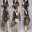 พร้อมส่ง ชุด Dress ยาวสีพื้นดำลายดอก thumbnail 2